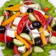 Fresh vegetable greek salad, close up — Stock Photo