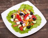Fresh vegetable greek salad, close up — Stock Photo