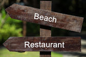 Information pointer sign in resort — Stock Photo
