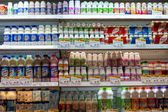 Dairy products at a supermarket in Bangkok, Thailand. — Stockfoto