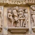 Fragment of the famous erotic temple in Khajuraho, Madhya Pradesh State, India. — Stock Photo
