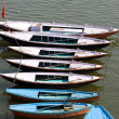 Old boats of Ganges river, Varanasi, India — Stock Photo