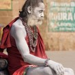Indian sadhu (holy man). Varanasi, Uttar Pradesh, India. — Stock Photo