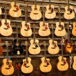 Big assortment guitars at the Siam Paragon Mall in Bangkok, Thailand. — Stock Photo