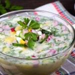 Russian okroshka with yogurt and vegetables, food — Stock Photo #36799625