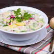 Russian okroshka with yogurt and vegetables, food — Foto Stock