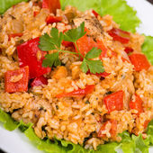 Rice with vegetables and chicken in a curry sauce — Stock Photo