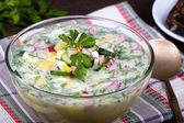 Russian okroshka with yogurt and vegetables, food — Stock Photo