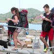 Unidentified tourists swim away from island Phangan — Stock Video #41895271