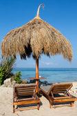 Beach chair at sunny coast. Island Malapascua, Philippines — Stock Photo