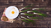 Egg , chives,  plate, knife and fork look like sperm competition — Stock Photo