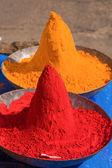 Colored colorful powder kumkum on Indian bazaar — Stock Photo
