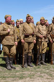 Members of Red Star history club wear historical Soviet uniform during historical reenactment of WWII — Stock Photo