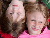 Close up portrait of the two girl child — Stock Photo