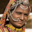 Portrait of a India Rajasthani woman close up — Stock Photo