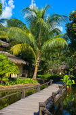 Wooden walkway in tropical hotel, Thailand — Stock Photo