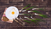 Egg , chives, plate, knife and fork look like sperm competition, Spermatozoons floating to ovule — Stock Photo