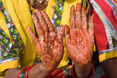 Beautifully decorated indian hands — Stock Photo