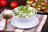 Salad of onions along with the egg and cucumber — Stock Photo