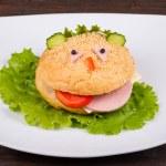 Hamburger looks like a funny muzzle — Stock Photo #48661515