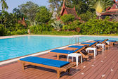 Swimming pool and sun beds in tropical garden , Thailand — Stock Photo