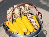 Streaming corn in pot — Stockfoto