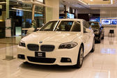 BMW 520d car on display at the Siam Paragon Mall in Bangkok, Thailand. — Stock Photo