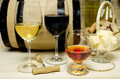 Red and white wine, brandy — Stock Photo