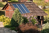 Solar panel on the top of the house — Stock Photo