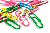 The colorful paperclips — Stock Photo