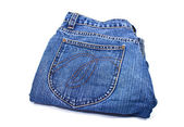 Blue denim jeans isolated — Stock Photo