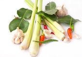 Lemongrass, garlic, pepper isolated, — Stock Photo
