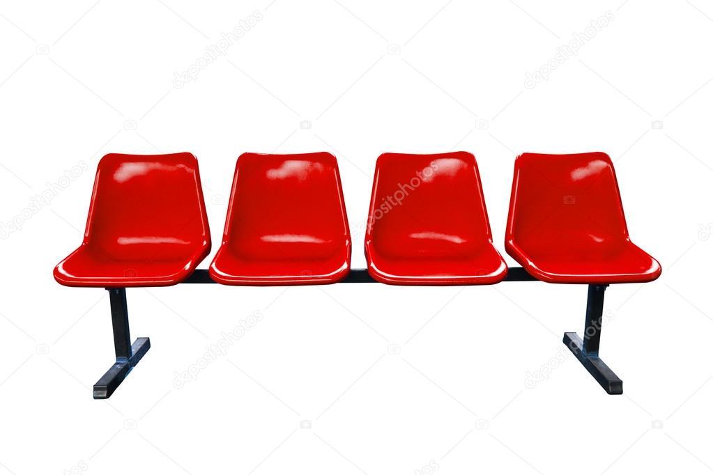 Sedie di plastica rosse alla fermata isolato foto stock for Sedie in ecopelle rosse