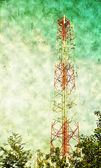 Communication tower, with grunge background — Stock Photo