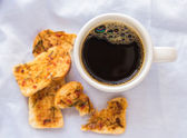 Coffee and cookies on the tableclot — Stock Photo