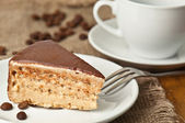 Delicious cake and coffe — Stock Photo