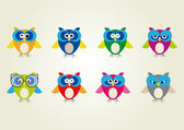 Colorful Owls with emotions — Stock Vector
