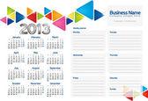 Week planner of 2013 — Stock Vector
