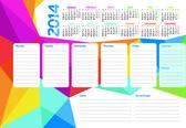 Week planner of 2014 — Stock Vector
