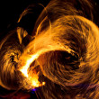 Abstract Drawing Flaming Trails Night Performance Flaming Trails — Stok fotoğraf