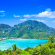 View tropical island with resorts - Phi-Phi island, Krabi Province thailand — Stock Photo
