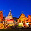 Phra Singh temple twilight time Viharn chiang mai thailand — Stock Photo #27326189