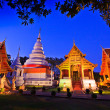 Phra Singh temple twilight time Viharn chiang mai thailand — Stock Photo #27326223