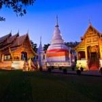 Phra Singh temple twilight time Viharn chiang mai thailand — Stock Photo #27326261