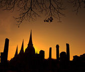 Silhouette of Pagoda at wat Phra sri sanphet temple — 图库照片