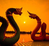 Sunset and dragon Serpent — Stock Photo