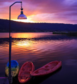 Kayaking on sundust — Stock Photo