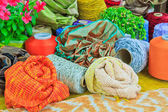 Embroidery colorful thread spool in rows — Stock Photo