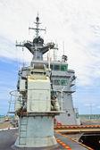 Radar tower on the modern warship — Stock Photo