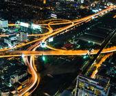 Bangkok traffic at twilight period — Stock Photo